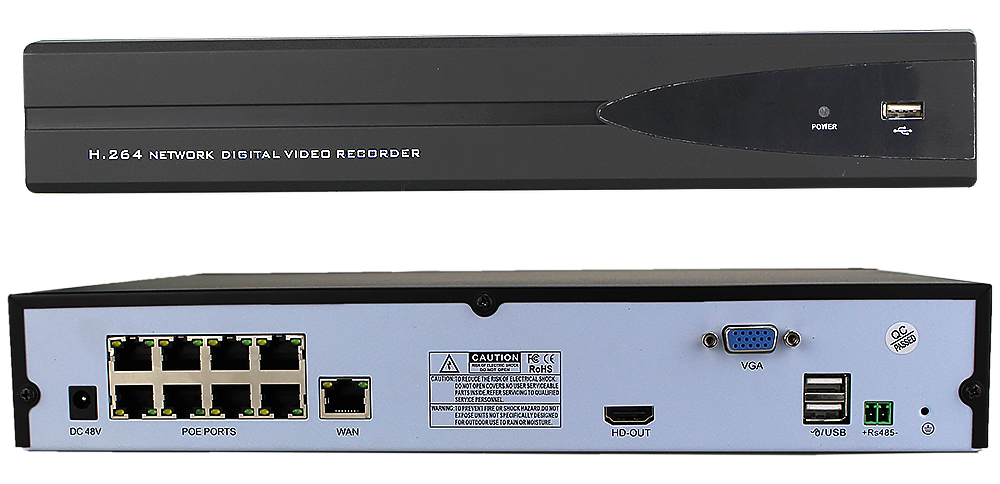 ENSTER 8ch POE HD DVR the recorder With 8ch POE 48V Output 25 FPS each Channel 1080P
