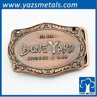 antique copper metal logo custom belt buckle