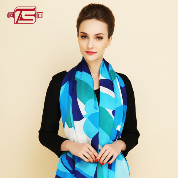chinese pure silk chiffon satin long scarf printing shawl