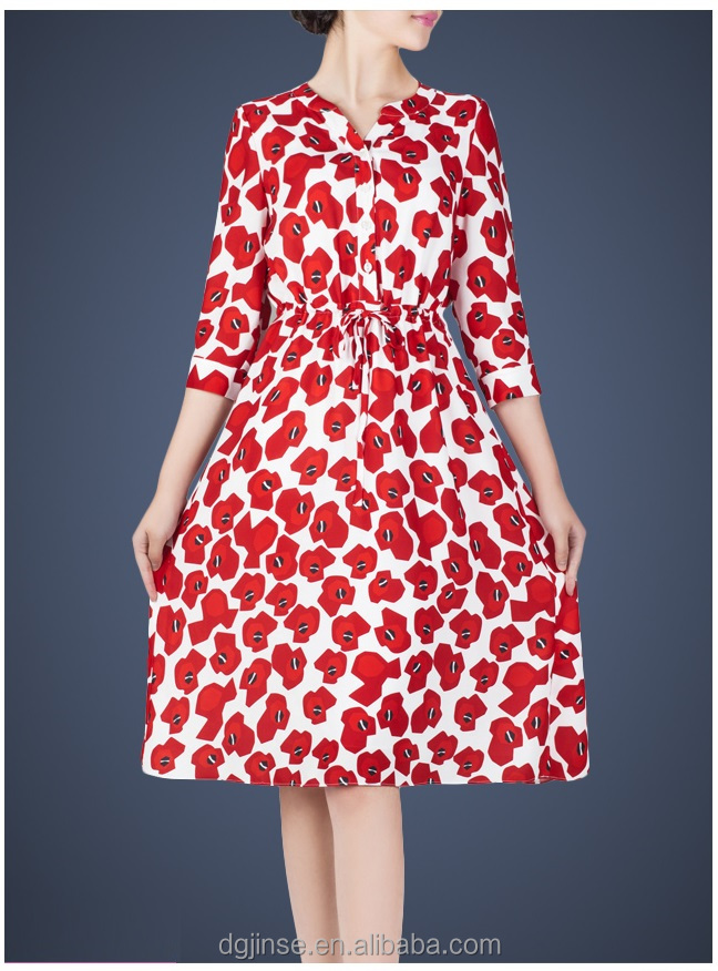 The spring summer ladies dress receive waist A word skirt 3/4 long sleeve digital print fresh floral dresses for women