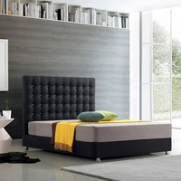 Linen Upholstered Bed Frame with Button bed head
