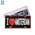 i love amsterdam 12*6 inch car aluminum embossed license plate