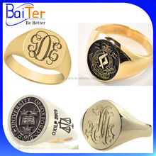 Design Men's Engraved Stainless Steel Oval Custom Signet Ring/Stamped Embossed Signet Ring For Men