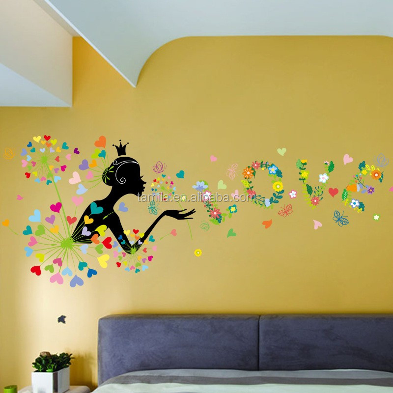 Removable PVC living room children's room decorative beautiful cartoon fairy tale wall sticker wallpaper for bedroom walls