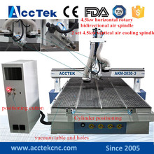 Acctek! Large size cnc machine router, three heads cnc router china 1325 2030 2040 for funiture wood