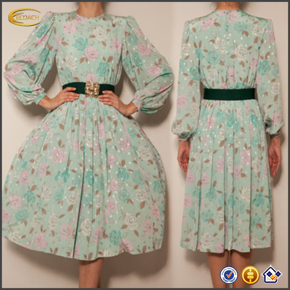 80's japanese green floral vintage designer long sleeve ladies winter one piece dress