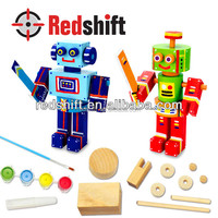 OEM Product art & craft toy color Wooden Mini Robot Set