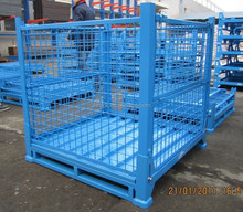 Folding and stackable steel warehouse storage cage from china manufaturer