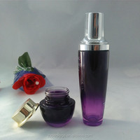 Custom Purple glass bottle cosmetics 100ml with pump for lotion packaging