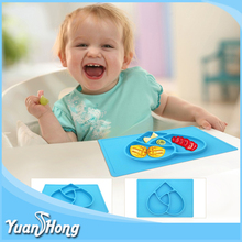 Colorful Christmas FDA Material Round Plate Silicone Placemat Baby