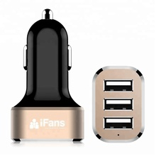 WHOLESALE iFans Hot 12V 3 Port USB Mobile Phone In Car Battery Charger Car Adapter