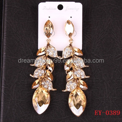 Western wedding jewelry fair leaves golden wedding Rhinestone Earrings Earrings crystal Beauty Princess 2016
