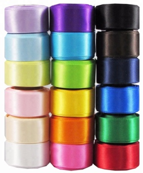 YAMA factory stocked 100% polyester 75 MM double faced/sided satin ribbon