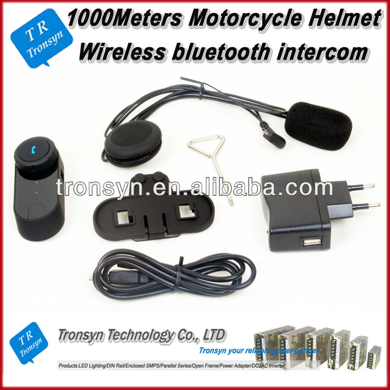 1000m audio intercom motorcycle support for cellular phones, intercom calls, stereo music