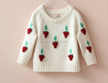 Kid girl knitting wear grape embroidered long sleeve sweater pullover