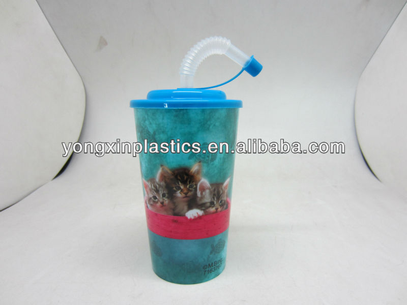 18OZ disposable plastic cups lid and straw