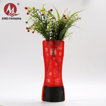 2018 odm oem product custom printing strendy fashion red foldable clear plastic small flower vases