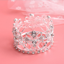hair accessories diamond design bulk rhinestone Headpiece small round pageant cheap tiara crowns comb happy birthday for kids