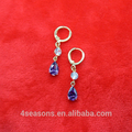 Fashion purple teardrop zircon earrings