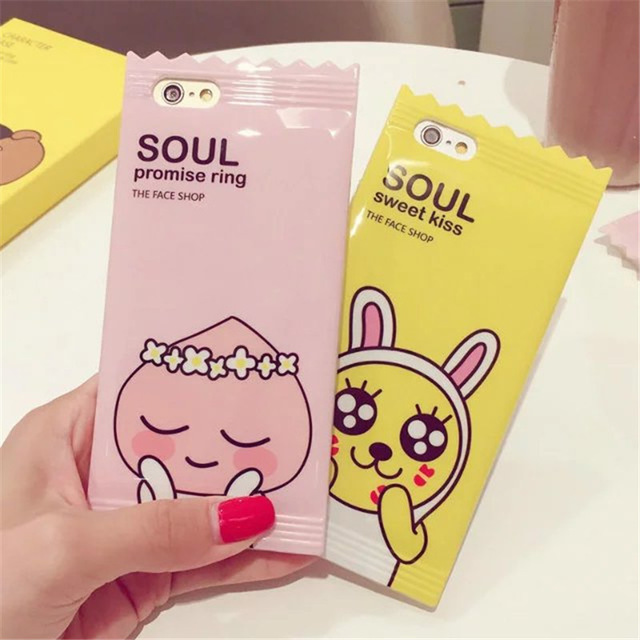 Cute Muzi Apeach Case For Apple iPhone 6 6s 7 plus 3D Candy Korean Cartoon Phone Cases Cover