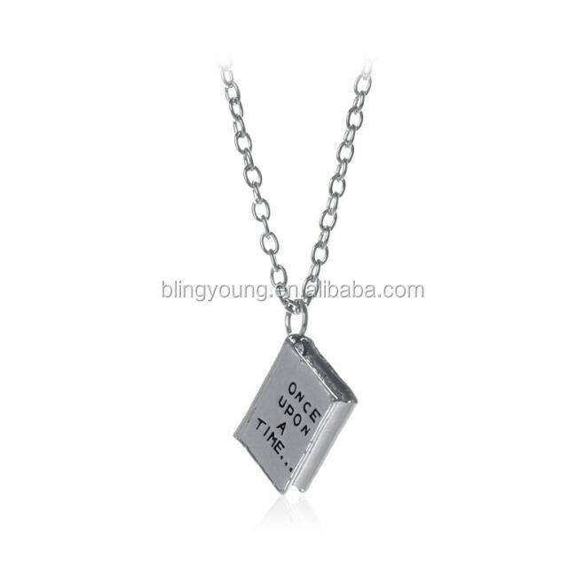 Once Upon a time originality zinc alloy engraved book pendant necklace