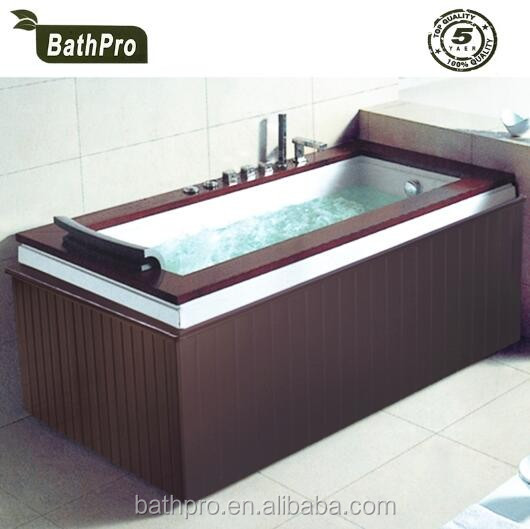 rectangle corner two skirt wooden massage hot tub with pillow