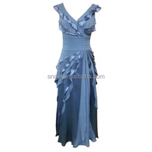 EL-8049 Tiered Chiffon Satin V-neck Cape Sleeve Evening Gown