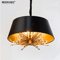 MEEROSEE American Style Vintage Black Pendant Lamp Lampshade Retro Crystal Suspended Hanging Lighting for Dining Room MD85528-L4