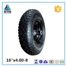16 inch 4.00-8 rubber Pneumatic air solid wheel for wheelbarrow hand trolley