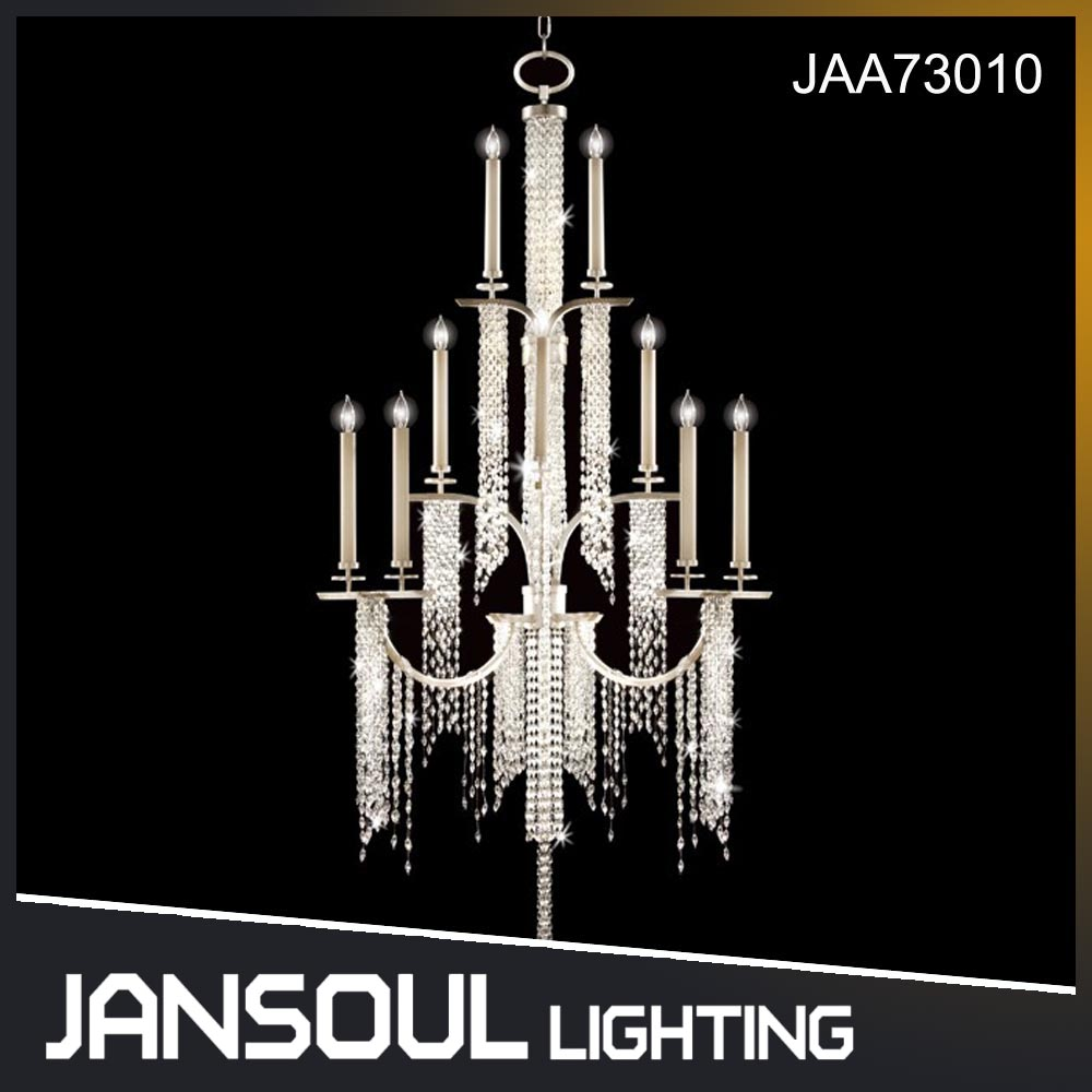 JANSOUL new product silver metal and clear crystal pendant light fixture