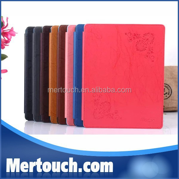 Wholesale Top Quality Luxury Flowers Smart Cover Stand Flip PU Leather case for iPad 2 3 4