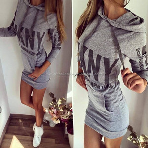 Hot preppy one piece girl party dress sport hooded dresses for women clothing apparel slimming dresses