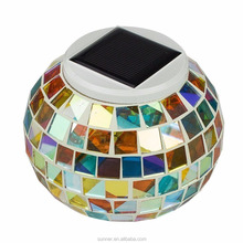 Solar Powered Mosaic Glass Color Changing Bar Garden Table Lights