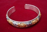 Partly Gold Plated 925 silver bracelet handmade Nepal