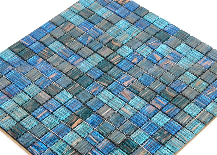 China supply products bule mixed Hot - melt mosaic swimming pool floor tile