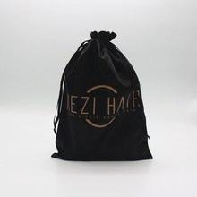 Large Custom Black Satin Hair Extension Hanger Bags For Packaging