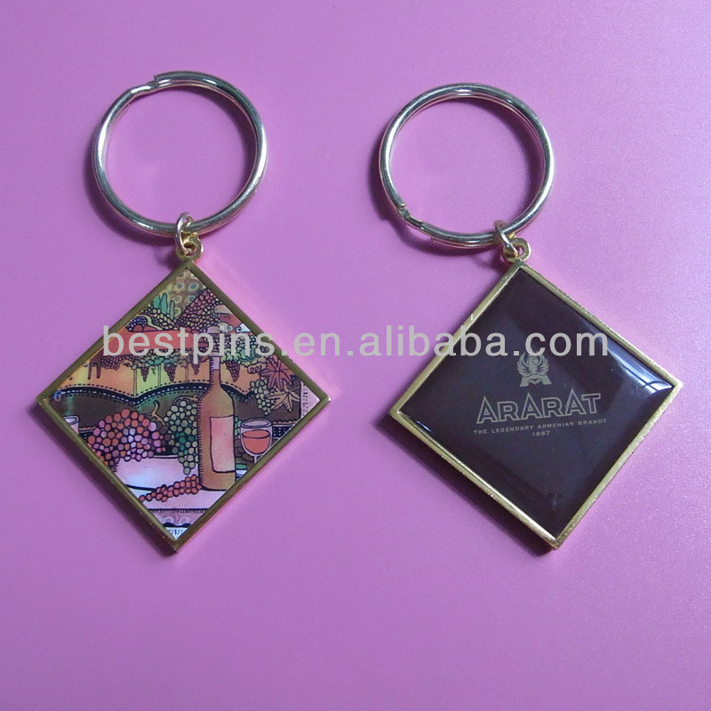 double sides offset print image metal key chain keyring