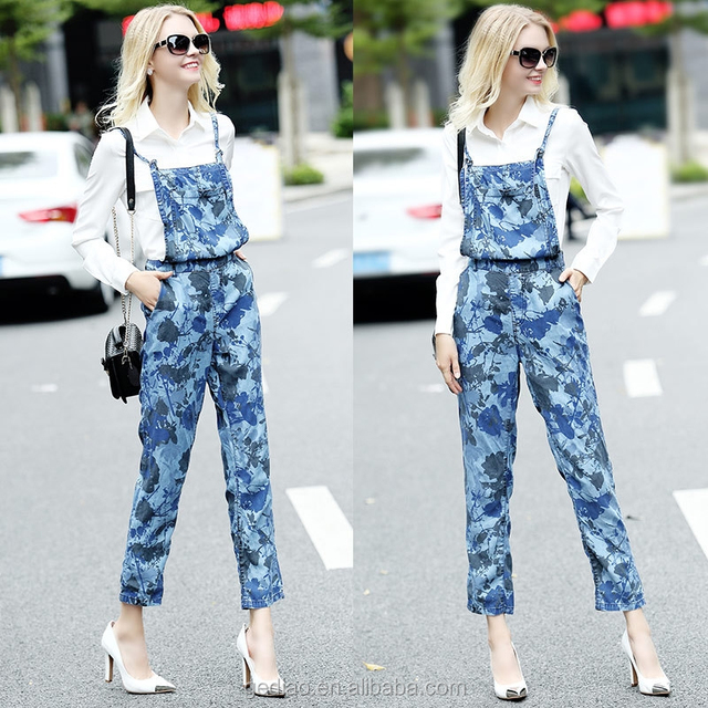 2016 latest fashion european high quality camouflage strap suspender trousers jumpsuit for women
