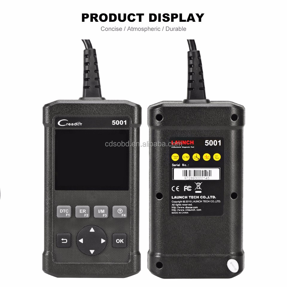 Launch OBD2 Scan CReader 5001 Code Reader Full Functions OBDII Scanner with O2 Sensor Test and On-board Monitor Test
