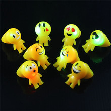 LED lights plastic comfortable cute ring, funny diverting emoji flashing finger ring for party