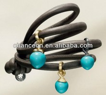 Leather bracelet wristbands chinese kong fu leather bracelet red coral mix leather wrapped bracelet
