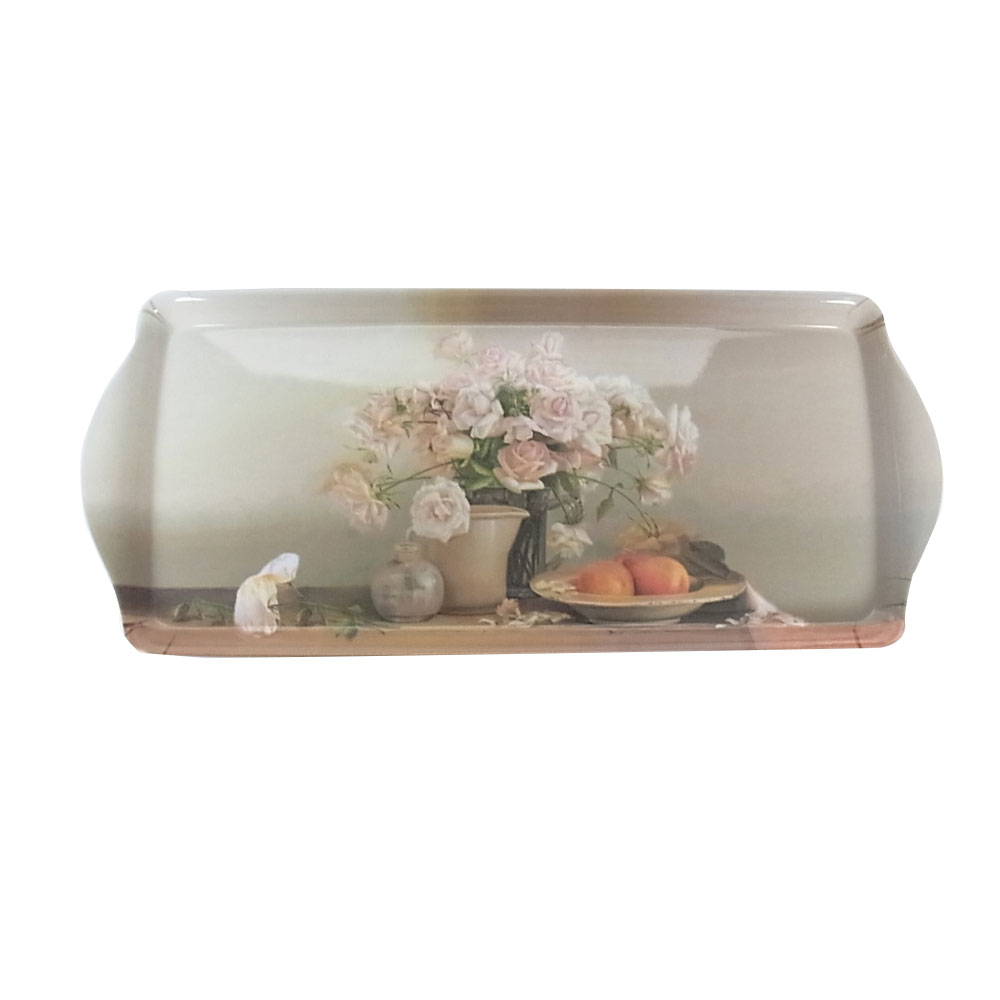 Beautiful rose flower printed anti-slip melamine service tray, plastic banquet serving tray