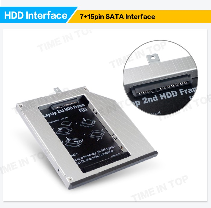 2nd HDD SSD Hard Drive Caddy for Lenovo T440p T540p W540p with Bezel