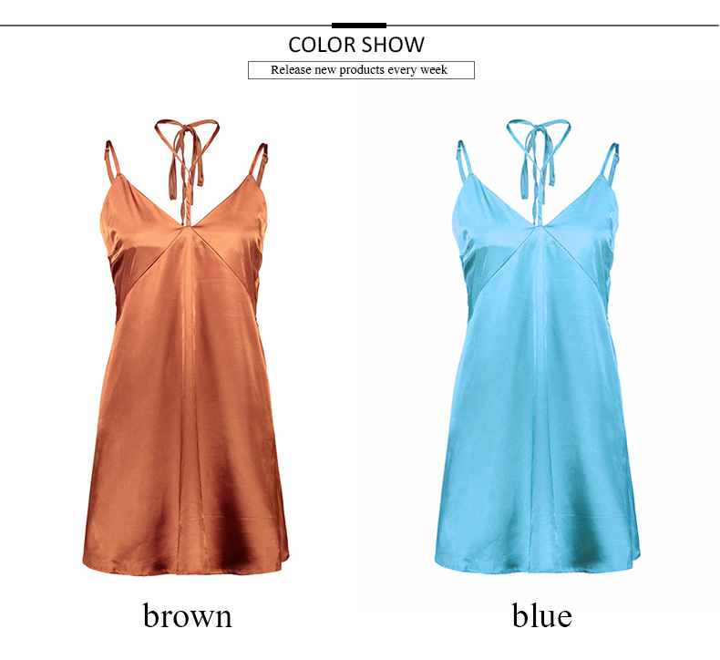 200402 Clothing Manufacturers Womens Sexy Short Deep V Neck Spahatti Strap ladies modern dress