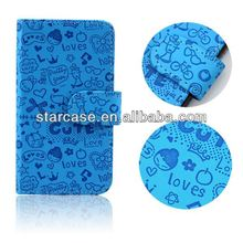 made in china ,leather wallet happy case for alcatel one touch pop c5 5036d phone cover