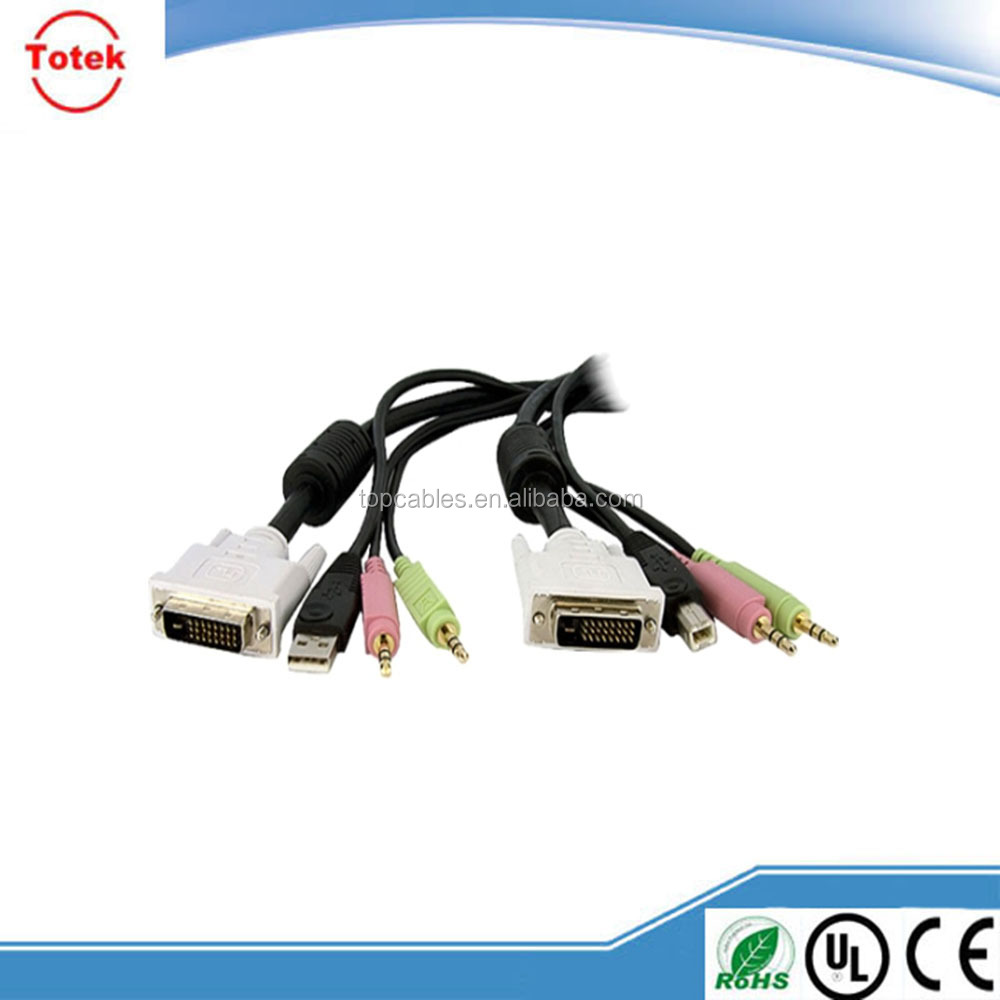 High quality DVI to USB 2.0 Audio KVM Cable