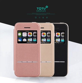 TOTU Touch Series Smart Flip View PU Leather Case For Iphone SE/5S HD-348
