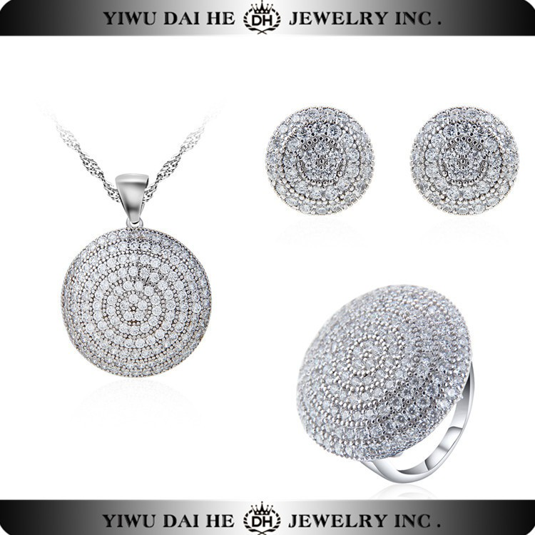 Crystal 925 Sterling Silver Jewelry Sets Necklace Earring Ring Set