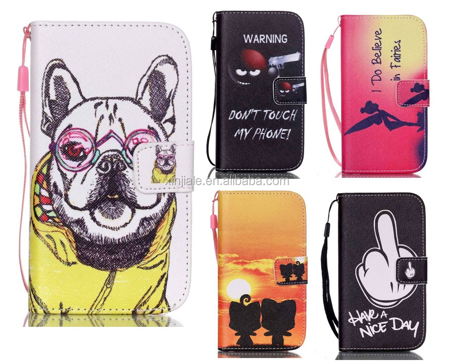 3C Mobile Phone Accessories For Samsung S3 S4 S5 mini S6/7/8 Flip Magnetic Leather Wallet Case Flower Cartoon Cover Phone Shell