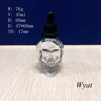 30ml skull head glass ejuice dropper bottles with childproof cap